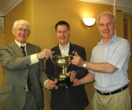 Herb Cherry and Peter Bond with 2012 bridge trophy